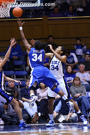 Krystal picked up her fourth foul and Dunlap tied the game from the line.  - Duke Tags: #34 Krystal Thomas
