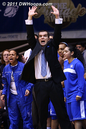 Kentucky assistant Matt Insell reacts to the Cats taking the lead.