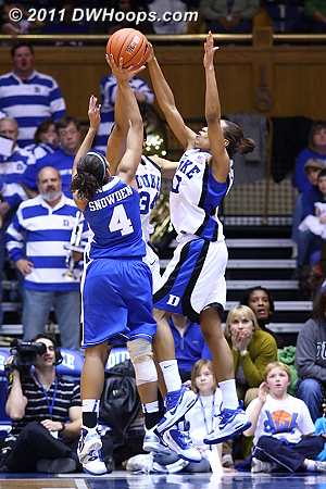 A timely Jasmine Thomas shot block prevents Keyla Snowden from putting Kentucky up four.  - Duke Tags: #5 Jasmine Thomas