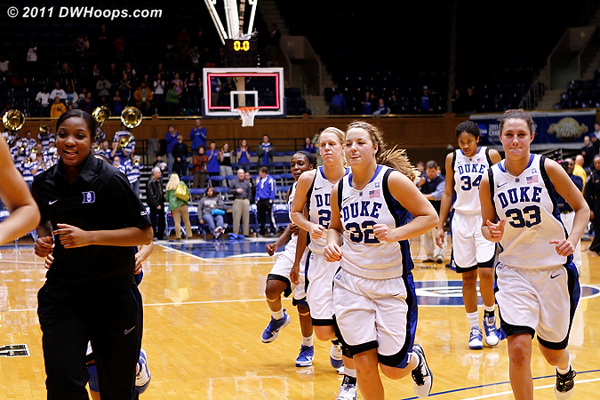 Duke heads off the floor with a perfect 14-0 record going into ACC play.  - Duke Tags: #15 Richa Jackson, #32 Tricia Liston, #33 Haley Peters