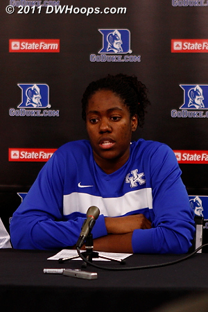 Victoria Dunlap in the Duke media room.