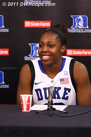 A happy Chelsea Gray in the media room.  - Duke Tags: #12 Chelsea Gray