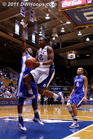 Chelsea Gray goes fiercely to the basket, missing a layup.  - Duke Tags: #12 Chelsea Gray