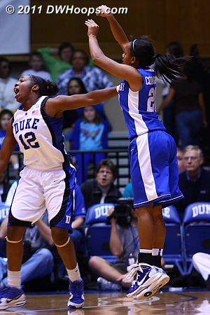 Maegan Conwright tries a three over Chelsea Gray.  - Duke Tags: #12 Chelsea Gray