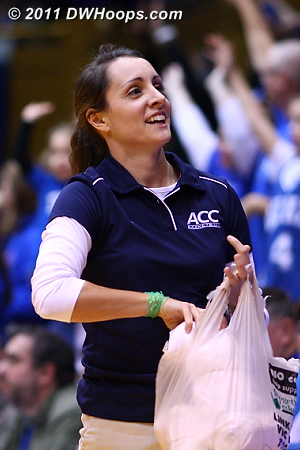 Georgia Davis was just one of the ACC officials on hand to promote the 2011 ACC Tournament via free t-shirts.  - Duke Tags: Fans