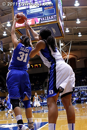 Kentucky got 3 of the first 4 rebounds, but only totaled 10 in the first half to Duke's 31.  - Duke Tags: #34 Krystal Thomas