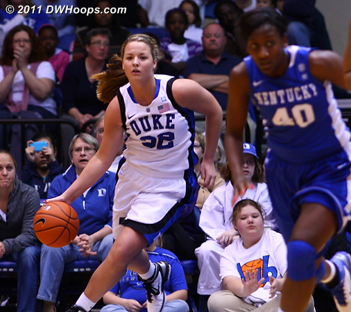 Tricia Liston brings the ball upcourt after an offensive rebound.  - Duke Tags: #32 Tricia Liston