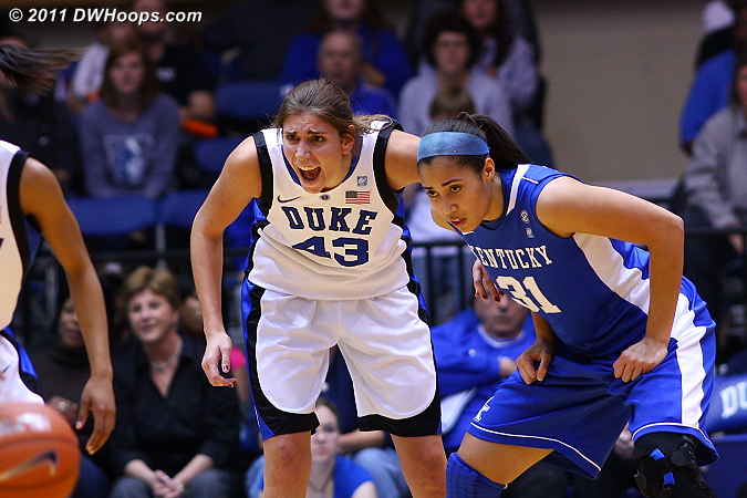 Allison Vernerey intently guards Samantha Drake.  - Duke Tags: #43 Allison Vernerey