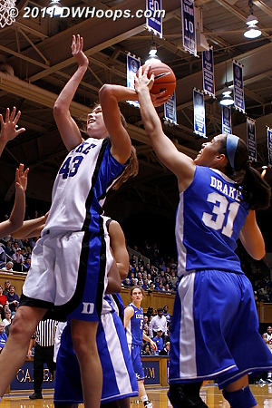 Vernerey blocked by Samantha Drake (third frame)  - Duke Tags: #43 Allison Vernerey
