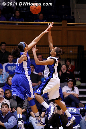 Jasmine Thomas scores on a runner during the pivotal last two minutes of the first half  - Duke Tags: #5 Jasmine Thomas