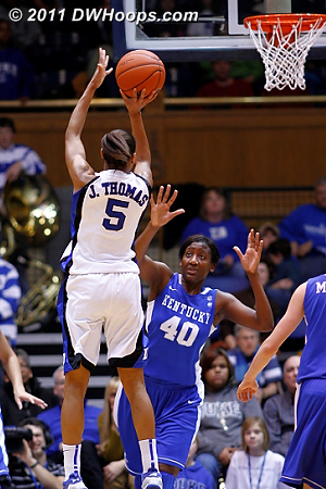 After a Chelsea Gray steal, Thomas gives Duke a nine point halftime advantage  - Duke Tags: #5 Jasmine Thomas