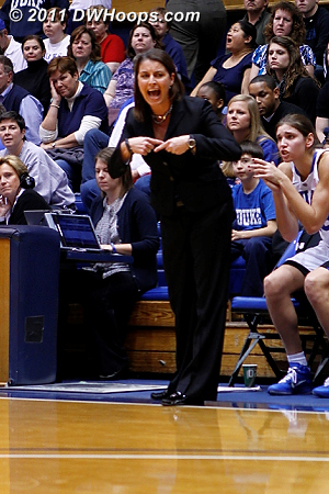 Duke Head Coach Joanne P. McCallie asks the officials for a Kentucky travel.