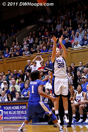 Tricia Liston ended the Duke drought with a sweet three pointer, 38-35 Devils with 12:05 remaining.  - Duke Tags: #32 Tricia Liston