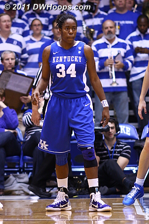 Kentucky's Victoria Dunlap was held to just ten points and six boards, a key to Duke's winning night.