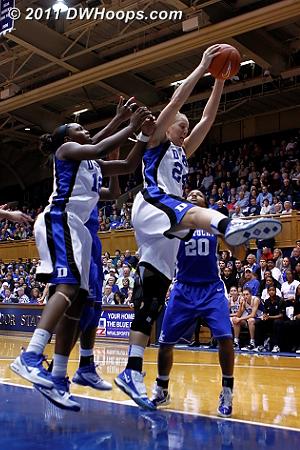 Kathleen Scheer pulls down an offensive rebound.  - Duke Tags: #24 Kathleen Scheer