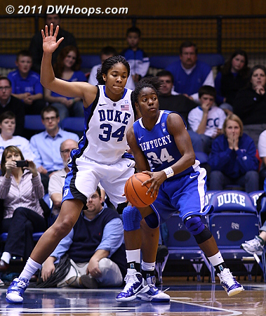 Krystal Thomas' height was both a physical and mental factor for Victoria Dunlap.  - Duke Tags: #34 Krystal Thomas