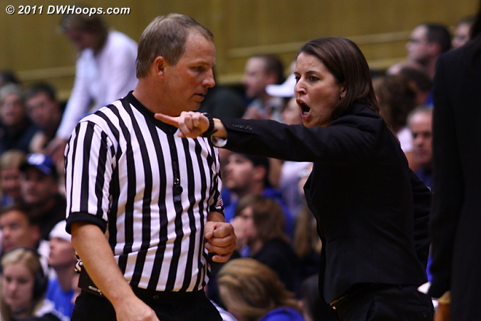 Coach P gives official Mark Zentz her opinion on a call at Duke's end.  - Duke Tags: Joanne P. McCallie