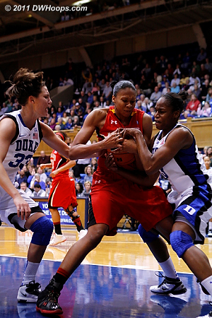 The Duke possession ended with a held ball.  - Duke Tags: #13 Karima Christmas, #33 Haley Peters