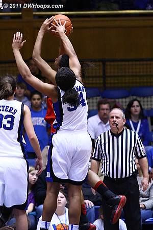 With too much body on this one, Krystal gets her second foul of the game.  Maryland could have taken the lead, but consecutive misses from Tchatchouang left it knotted at 50.  - Duke Tags: #34 Krystal Thomas