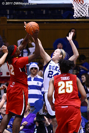 Solid defense from Scheer results in a bad Kizer miss.  - Duke Tags: #24 Kathleen Scheer
