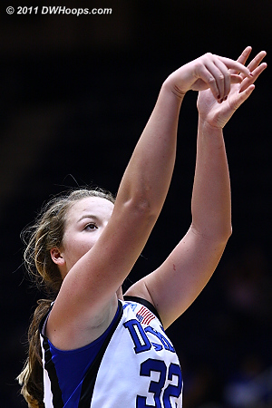 Tricia made both free throws for a 54-54 tie.  - Duke Tags: #32 Tricia Liston 