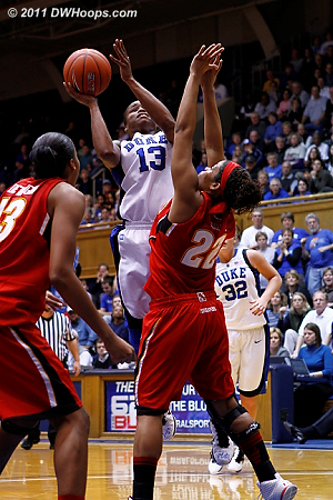 Karima draws a foul from Tchatchouang.  - Duke Tags: #13 Karima Christmas 