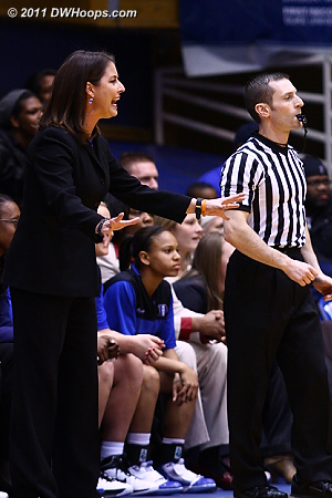 Coach P looks for Duke to settle down as referee Joseph Vaszily watches play continue.  - Duke Tags: Joanne P. McCallie
