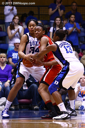Krystal Thomas strips Tchatchouang for a Duke steal.  - Duke Tags: #13 Karima Christmas, #34 Krystal Thomas