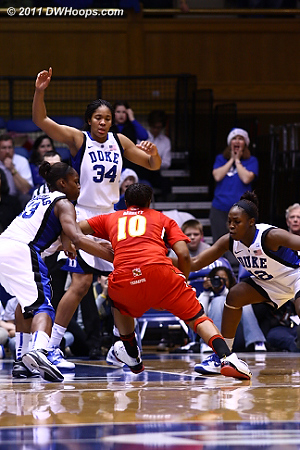 Duke defense swarms Anjale Barrett.