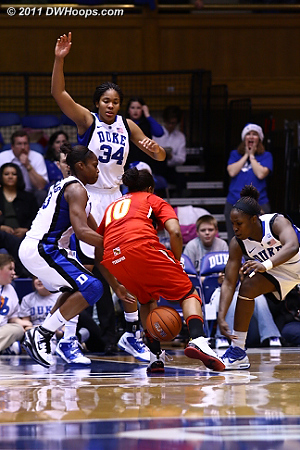 Chelsea Gray pokes the ball between Anjale Barrett's legs.  - Duke Tags: #12 Chelsea Gray
