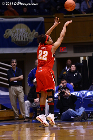Kim Rodgers scored three of the Terps four three pointers, including back to back bombs that put them up 20-13.
