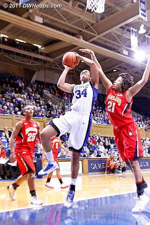 Krystal Thomas ends the 14-0 Maryland run by getting past Tianna Hawkins for a layup.  - Duke Tags: #34 Krystal Thomas