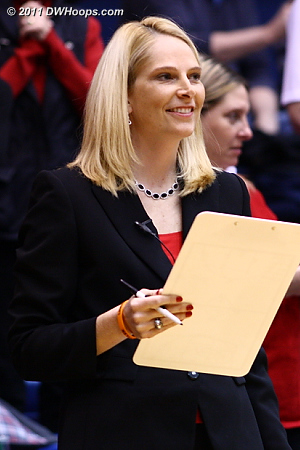 Maryland Head Coach Brenda Frese wearing a Team Tyler wristband printed by DWHoops  
