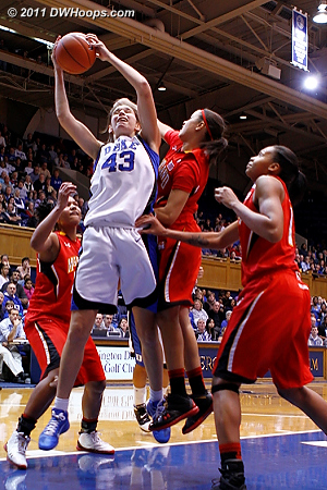 Allison Vernerey grabs an offensive rebound.  - Duke Tags: #43 Allison Vernerey