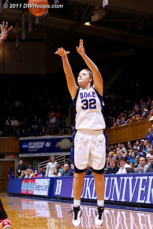 Liston ends a three minute Duke drought by swishing this trey, Duke trails 27-25.  - Duke Tags: #32 Tricia Liston