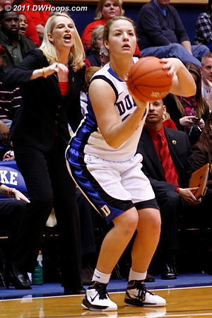 Tricia Liston readies a wide open three point attempt as Coach Frese calls for Maryland defense.  - Duke Tags: #32 Tricia Liston