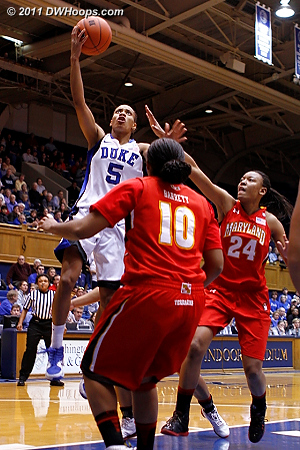 Jasmine Thomas scored Duke's second basket for a 4-0 lead.  - Duke Tags: #5 Jasmine Thomas