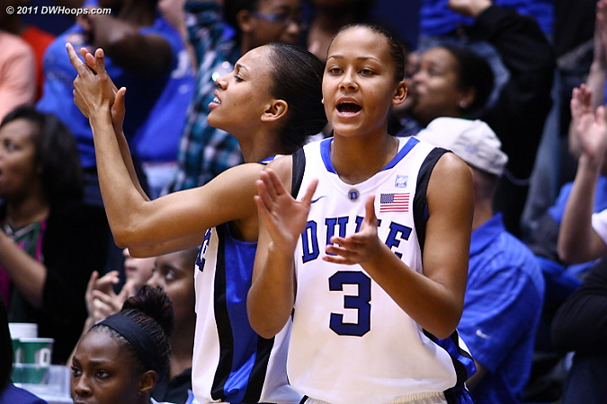 Support from Chloe Wells (left) and Shay Selby on the Duke bench.  - Duke Tags: #3 Shay Selby, #4 Chloe Wells 