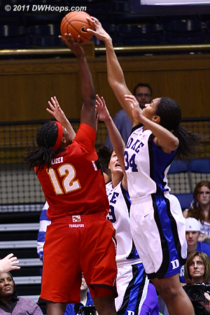This isn't a block for Krystal -- Kizer had just been fouled by Peters.  - Duke Tags: #34 Krystal Thomas