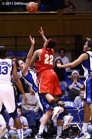 Haley Peters steps in to draw a charge from Kim Rodgers.  - Duke Tags: #33 Haley Peters 