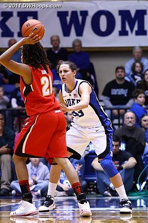 Haley Peters guards Maryland's Tianna Hawkins