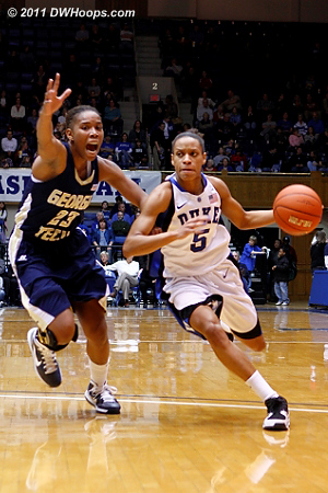 Jasmine Thomas blew past Deja Foster, but Foster would eventually draw the offensive foul.  - Duke Tags: #5 Jasmine Thomas