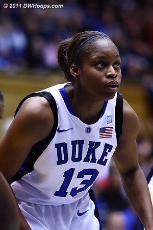 Karima on the blocks during a Duke free throw.