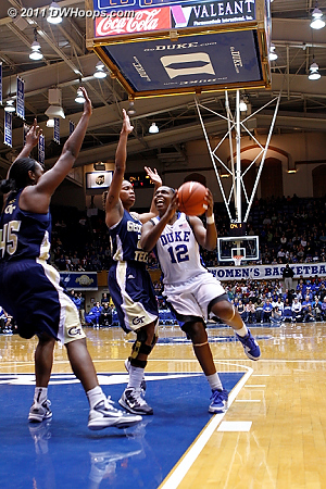 Chelsea Gray attacks the basket in the closing moment of the half.  - Duke Tags: #12 Chelsea Gray