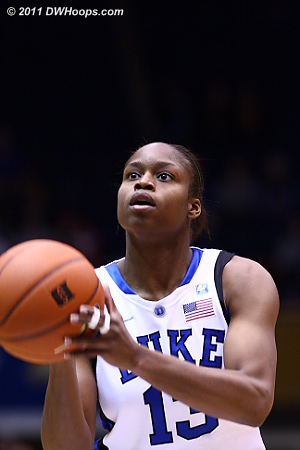 Karima Christmas scored Duke's first points with a pair of free throws.  - Duke Tags: #13 Karima Christmas