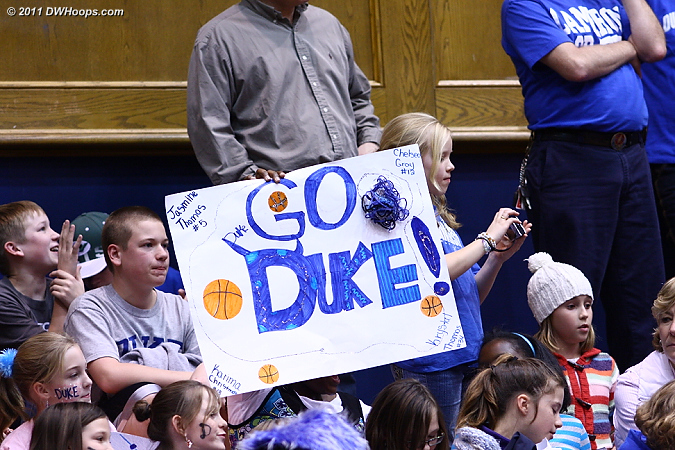 There were lots of great signs in the stands tonight and an enthusiastic crowd  - Duke Tags: Fans