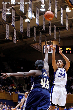 Krystal Thomas tries a 17 footer, a shot that Coach P likes to see.  - Duke Tags: #34 Krystal Thomas
