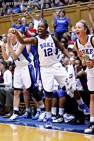 Duke bench reacts to the J.Thomas and-one
