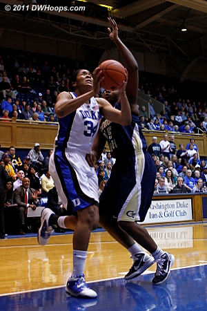 Krystal Thomas was fouled, giving Duke a 3-2 lead  - Duke Tags: #34 Krystal Thomas