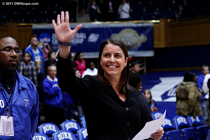Coach P waves to the crowd after notching her 100th Duke victory.  - Duke Tags: Joanne P. McCallie